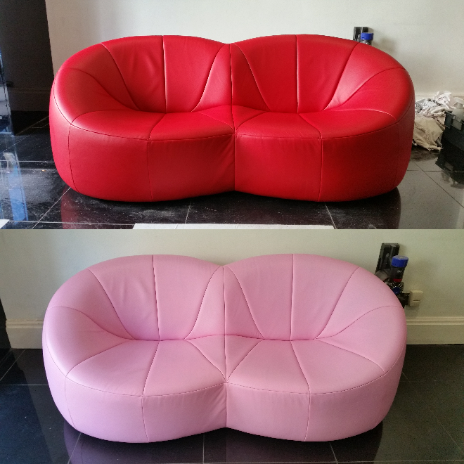 red leather sofa redyed to pink